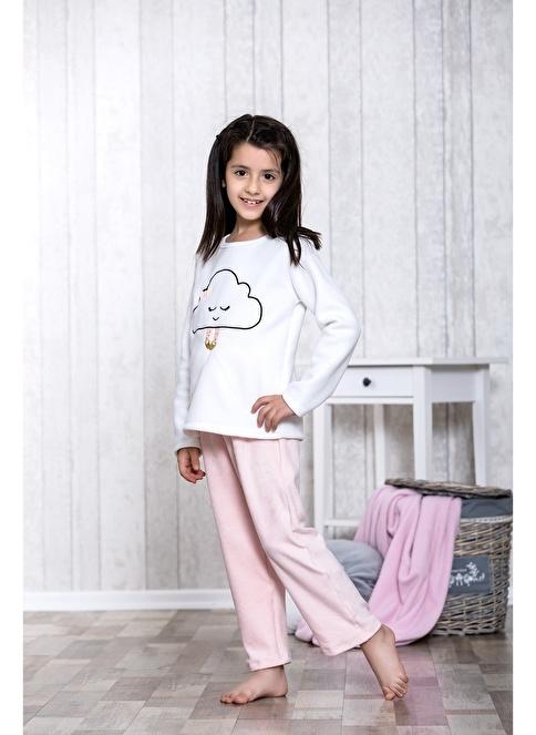 Lingabooms Bulut Nakışlı 2'li Çocuk Pijama Takım  Pembe